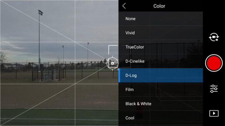 منوی Color Profile برای برنامه DJI